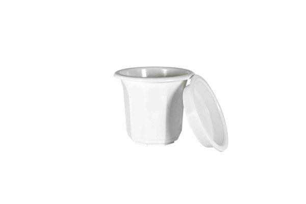 """Пластиковий горщик для квітів """"Тюльпан"""" 0,5л (малий високий) білий 4"""