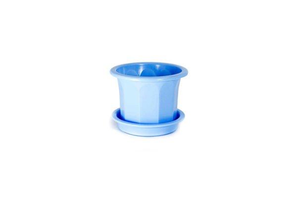 """Пластиковий горщик для квітів """"Тюльпан"""" 0,4л (малий низький) блакитний"""