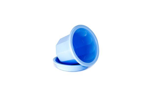 """Пластиковий горщик для квітів """"Тюльпан"""" 0,4л (малий низький) блакитний 2"""