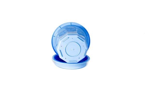 """Пластиковий горщик для квітів """"Тюльпан"""" 0,4л (малий низький) блакитний 3"""