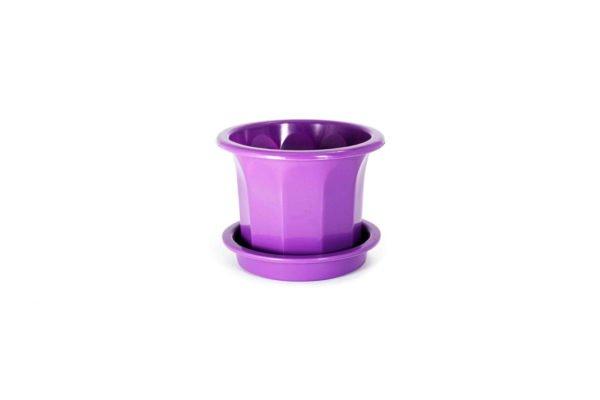 """Пластиковий горщик для квітів """"Тюльпан"""" 0,4л (малий низький) бузковий"""