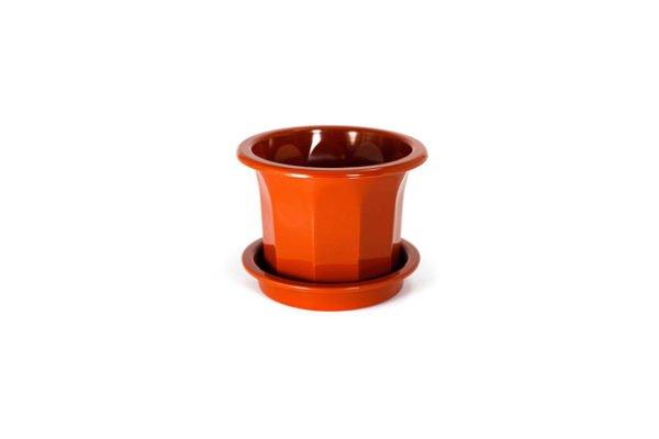 """Пластиковий горщик для квітів """"Тюльпан"""" 0,4л (малий низький) терракот"""