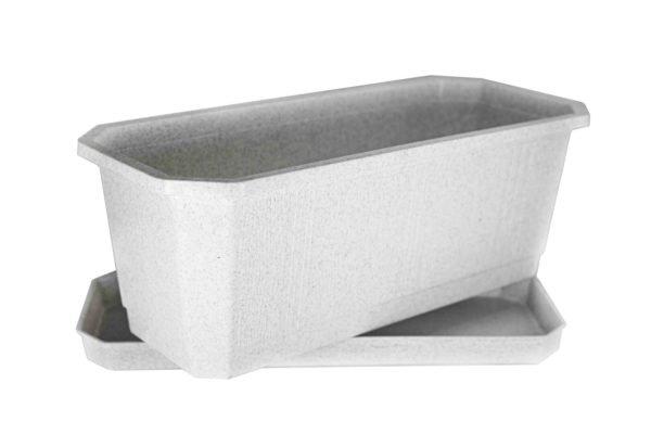 Ящик для квітів 40см білий мрамор 2