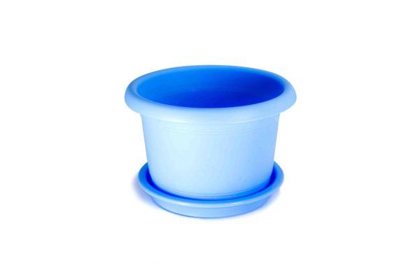 """Пластивий горщик для квітів """"Глорія"""" 1,5л блакитний"""
